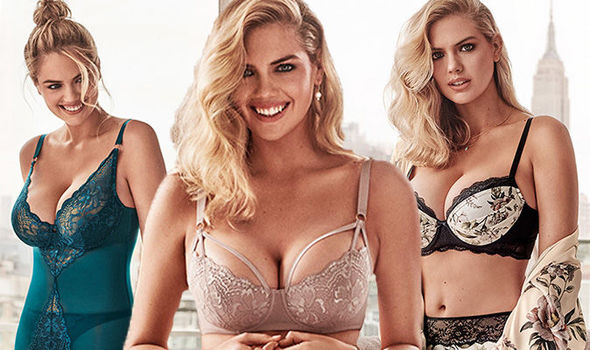 Kate Upton puts her jaw-dropping cleavage centre-stage as she spills out of saucy lingerie