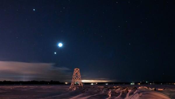 .konjungsi Jupiter dan bulan