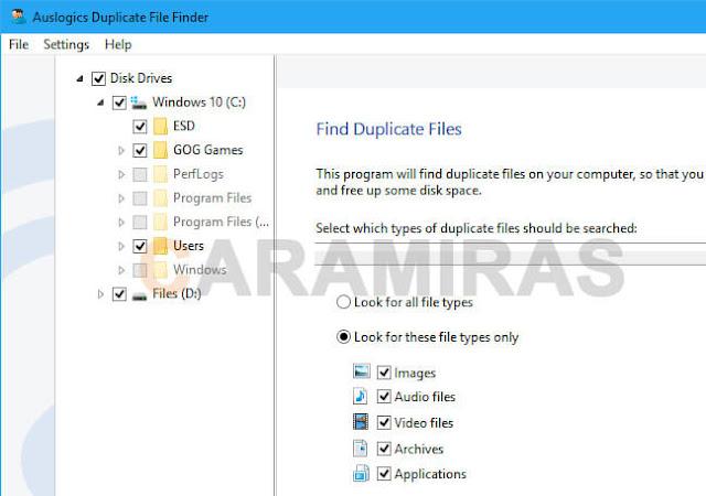 mencari dan menghapus file duplikat di windows - auslogics duplicate file finder