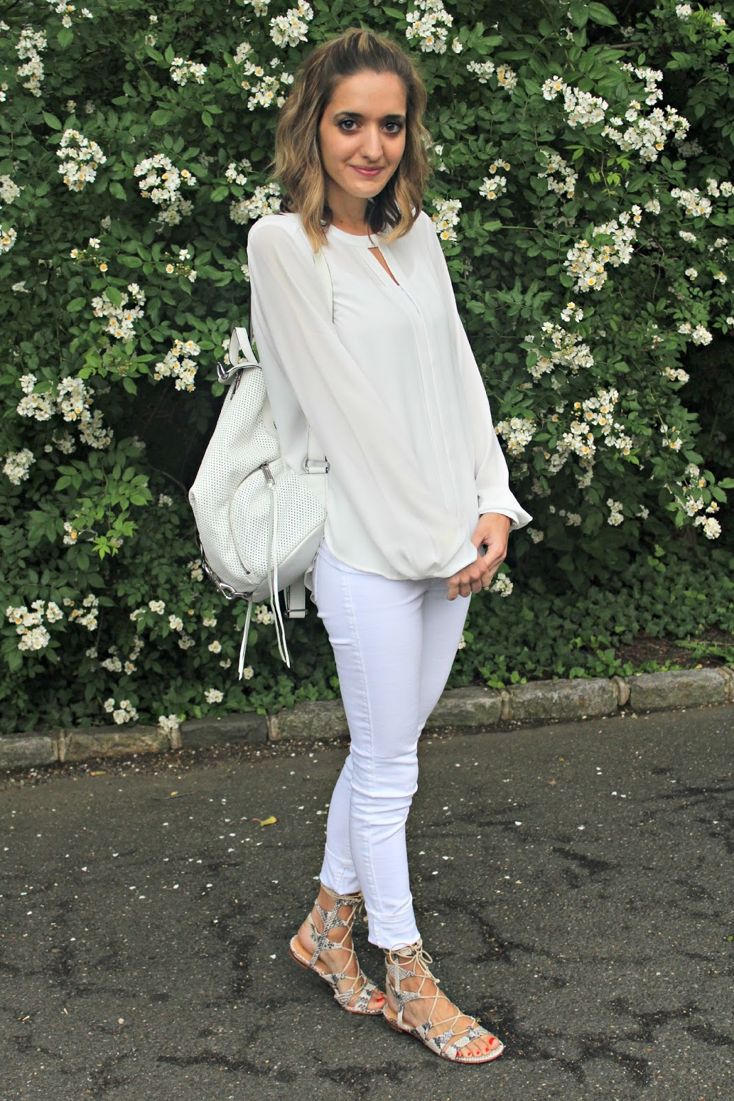all white summer office outfit
