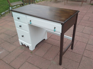 Traditional Modern Bohemian Desk- white and stained