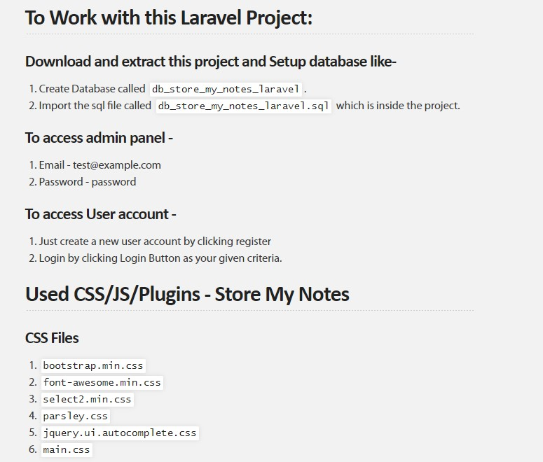 A Laravel Project - Store My Notes - Download and learn how