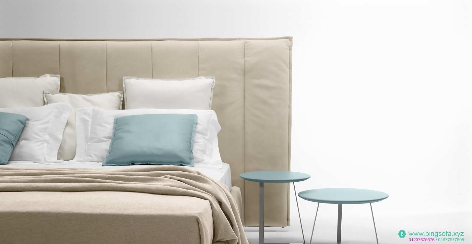 Mẫu giường ngủ bọc nệm vải GN31