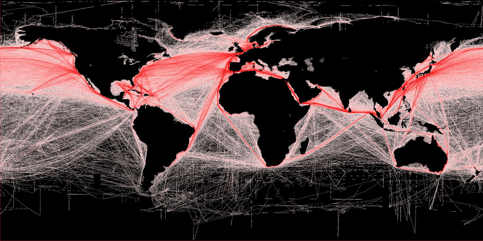 Shipping routes, showing relative density of commercial shipping around the world
