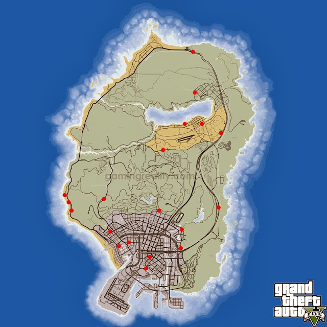 GTA 5 Shop Robberies Locations Map