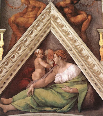 un triángulo que apunta hacia arriba, creando así una imagen de equilibrio espiritual perfecto de la familia humana entre madres y padres.