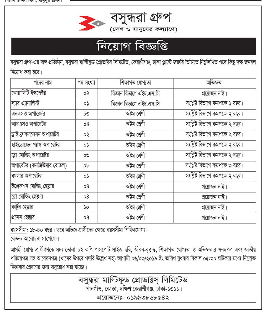Bashundhara Multi Food Product Limited Job Circular 2019