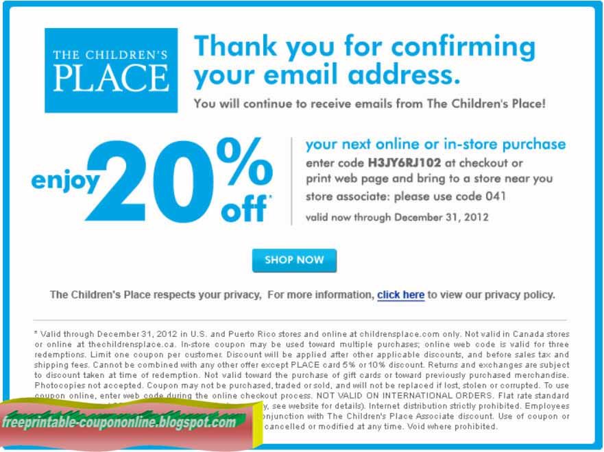 Shop children's place online