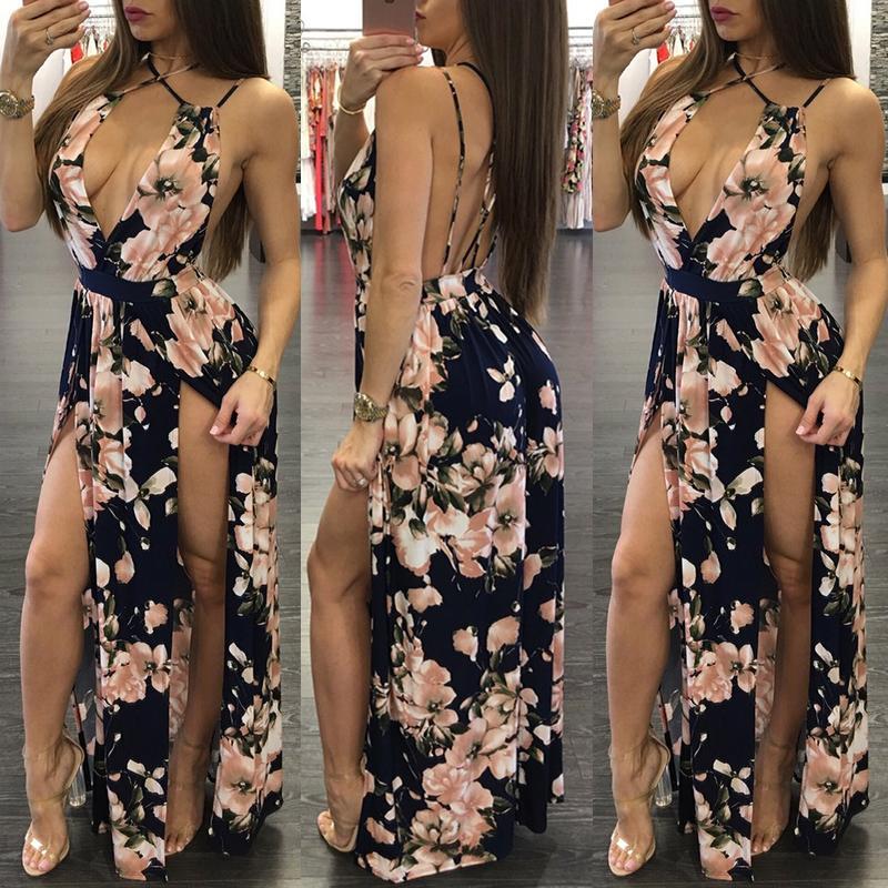 Deep V Floral Crisscross Back High Slit Maxi Dress 02