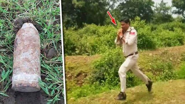 Policía indio corre con una bomba para salvar a 400 niños