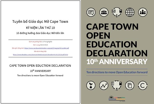 'Tuyên bố Giáo dục Mở Cape Town - Kỷ niệm lần thứ 10 – 10 đường hướng đưa Giáo dục Mở tiến lên' - bản dịch sang tiếng Việt