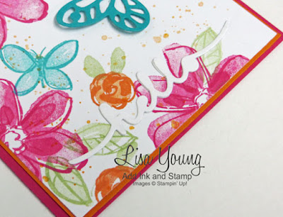 Stampin' Up! Garden in Bloom stamp set. Bright Flowers and butterflies. Easy handmade card by Lisa Young, Add Ink and Stamp