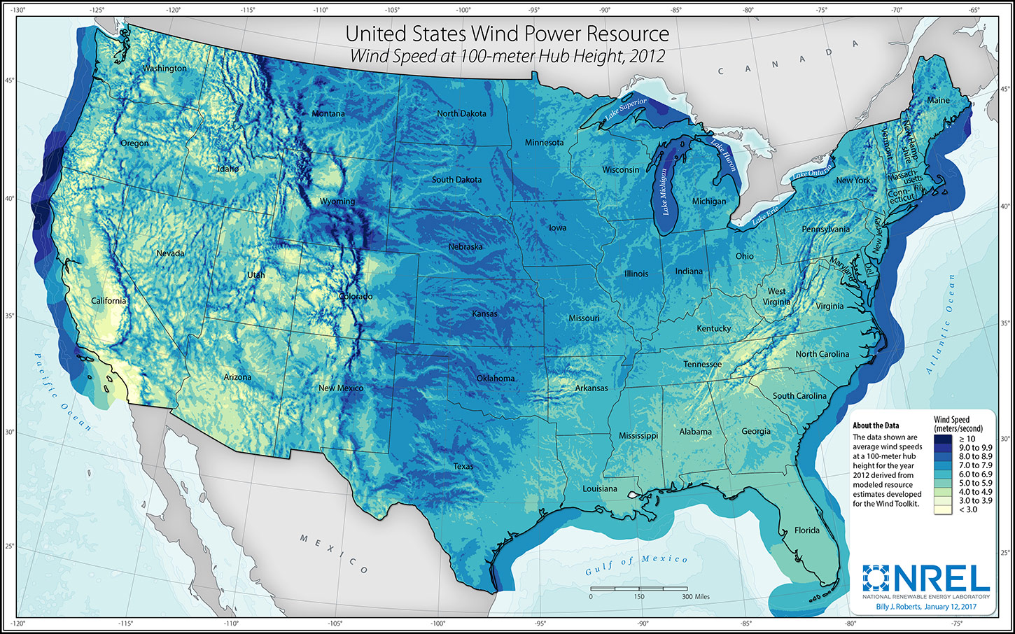 Solar And Wind Power Potential Of The US Vivid Maps - Wind map of us