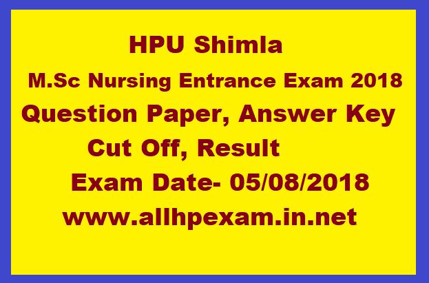 HPU Shimla M Sc Nursing Entrance Exam 2019, Question Paper