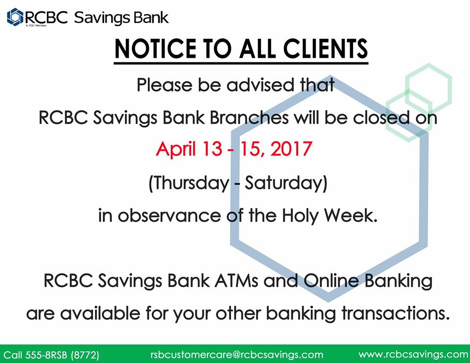 RCBC Savings Bank Holy Week 2017 schedule
