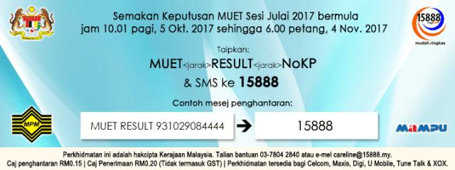 Cara SEMAK Keputusan MUET Sesi Julai 2017 Online Dan SMS