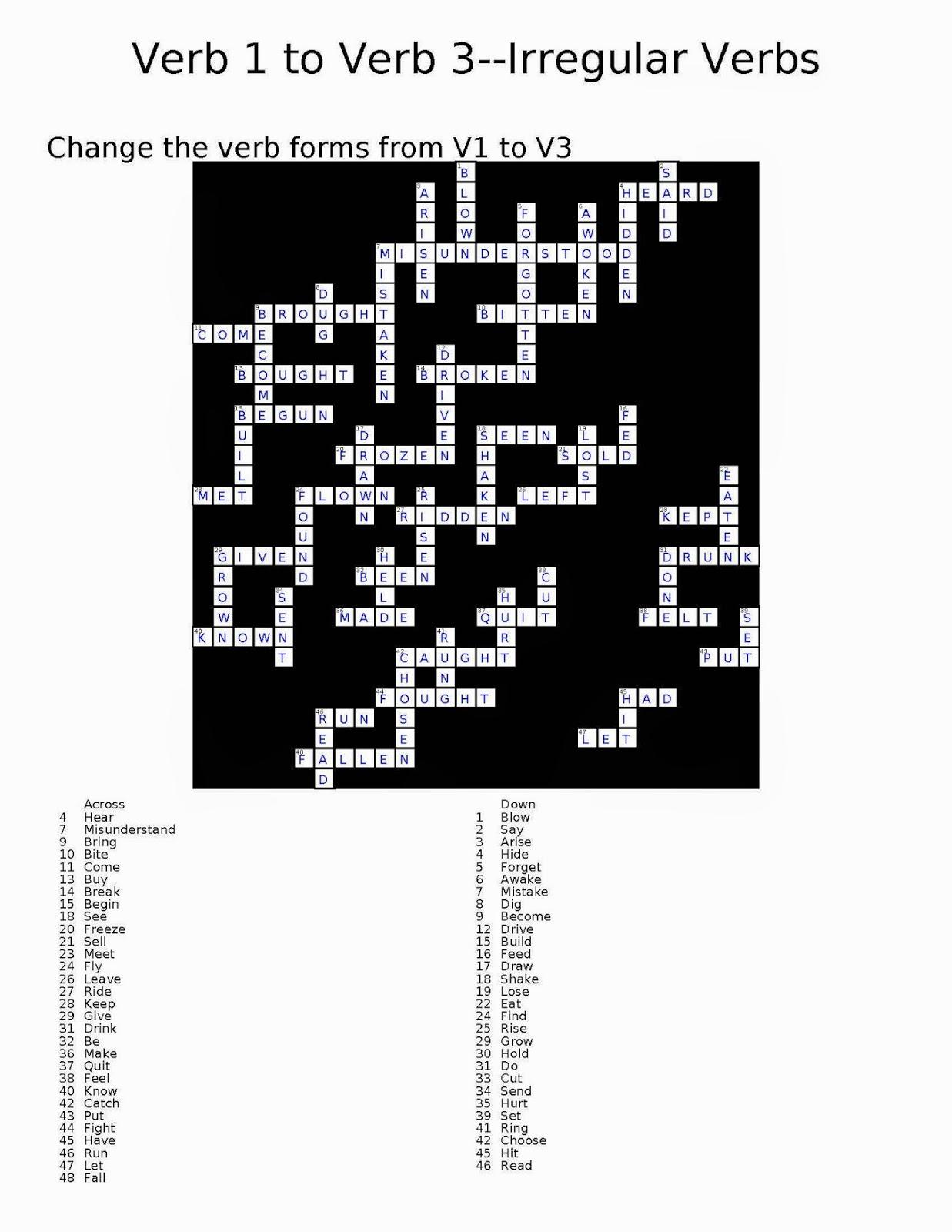 Random Book And Movie Reviews Verb 1 To Verb 3 Crossword Irregular Verbs