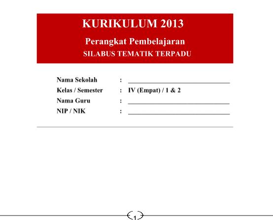 Silabus Kurikulum 2013 SD Kelas 4 Semester 1 Revisi 2016