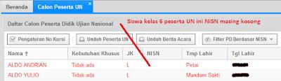 NISN siswa kelas 6 tidak muncul di Aplikasi Manajemen UN