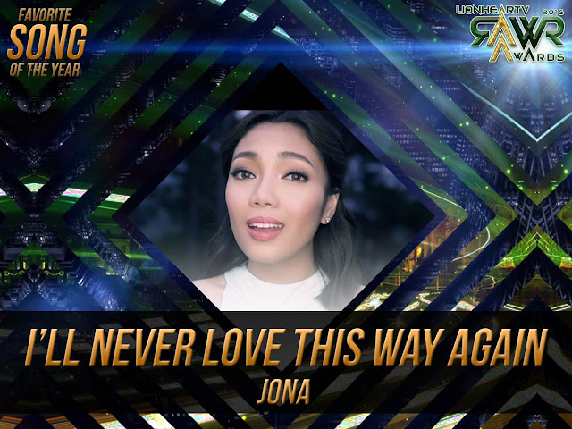 CUB: Jona Viray's 'I'll Never Love This Way Again' wins Favorite Song of the Year #RAWRAwards2016