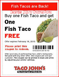 free Taco Johns coupons for december 2016