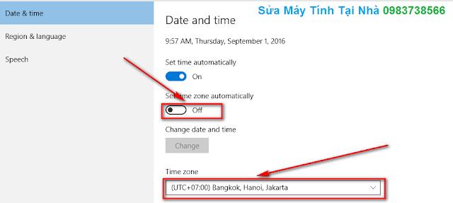 Chọn múi giờ UTC + 07:00