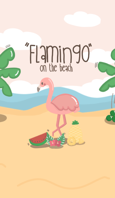 Flamingo on the beach (Pink)