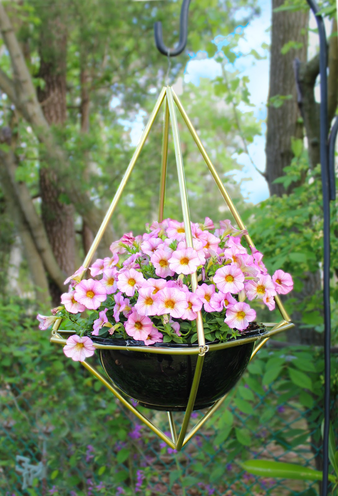 Create Geometric Himmeli hanging basket plant stands brass or copper with Monrovia