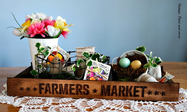 DIY Vintage pallet tray done with woodburned lettering for a spring vignette