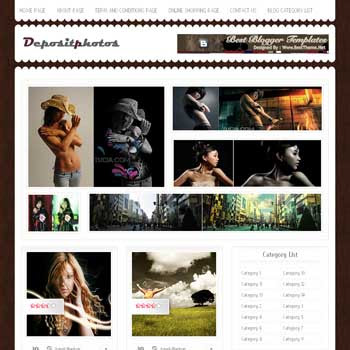 Deposit Photos blogger template. download photography template for blogger template