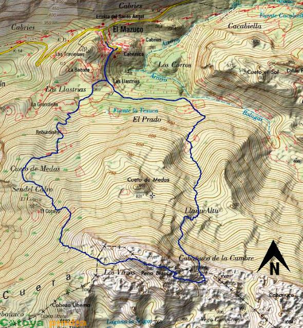 Mapa IGN de la ruta señalizada a Peña Blanca en la Sierra del Cuera.