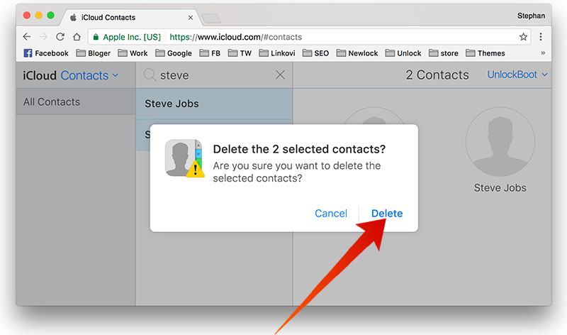 delete multiple contacts from icloud