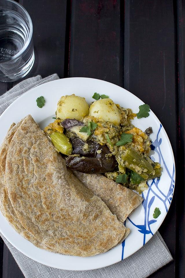 Gujarati Stuffed Mixed Vegetable Curry
