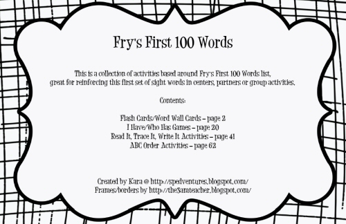Sped Ventures Fry S First 100 Words Packet Plus A Freebie