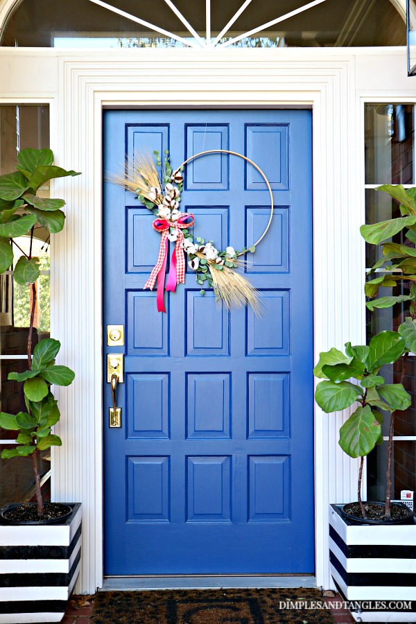 Sherwin Williams Dignity Blue, Fall Wreath, hoop wreath, blue front door