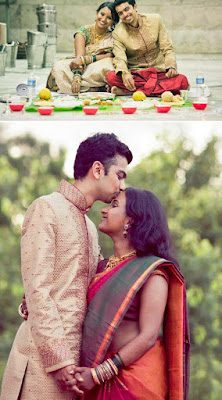 The upper golden combination of couple and down one orange color South Indian Saree is elegance at is finest.