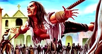 Dibujo de Túpac Amaru II siendo torturado con 4 caballos