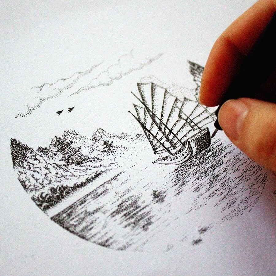05-Sailing-Away-Tímea-Tellér-Ink-Black-and-White-Illustrations-www-designstack-co
