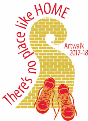 Logo, 'ArtWalk 2017/2018' at Santa Rosa Charter School for the Arts. Yellow-brick meandering pathway with red tennis-shoes at the bottom of the image. A caption bordering one edge of the path reads, 'There's no place like home.'