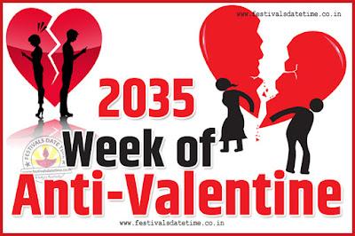 2035 Anti-Valentine Week List, 2035 Slap Day, Kick Day, Breakup Day Date Calendar