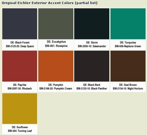 Although Benjamin Moore Doesn T Have All Of The Exact Eichler Colors In Their Inventory They A Wide Selection You Can Choose From That Stay True To