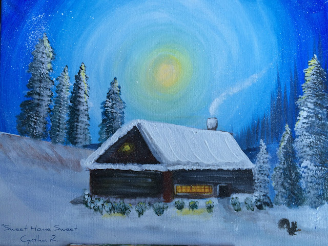 cabaña en la nieve, pintura acrílica, cipreses con cabaña nevada
