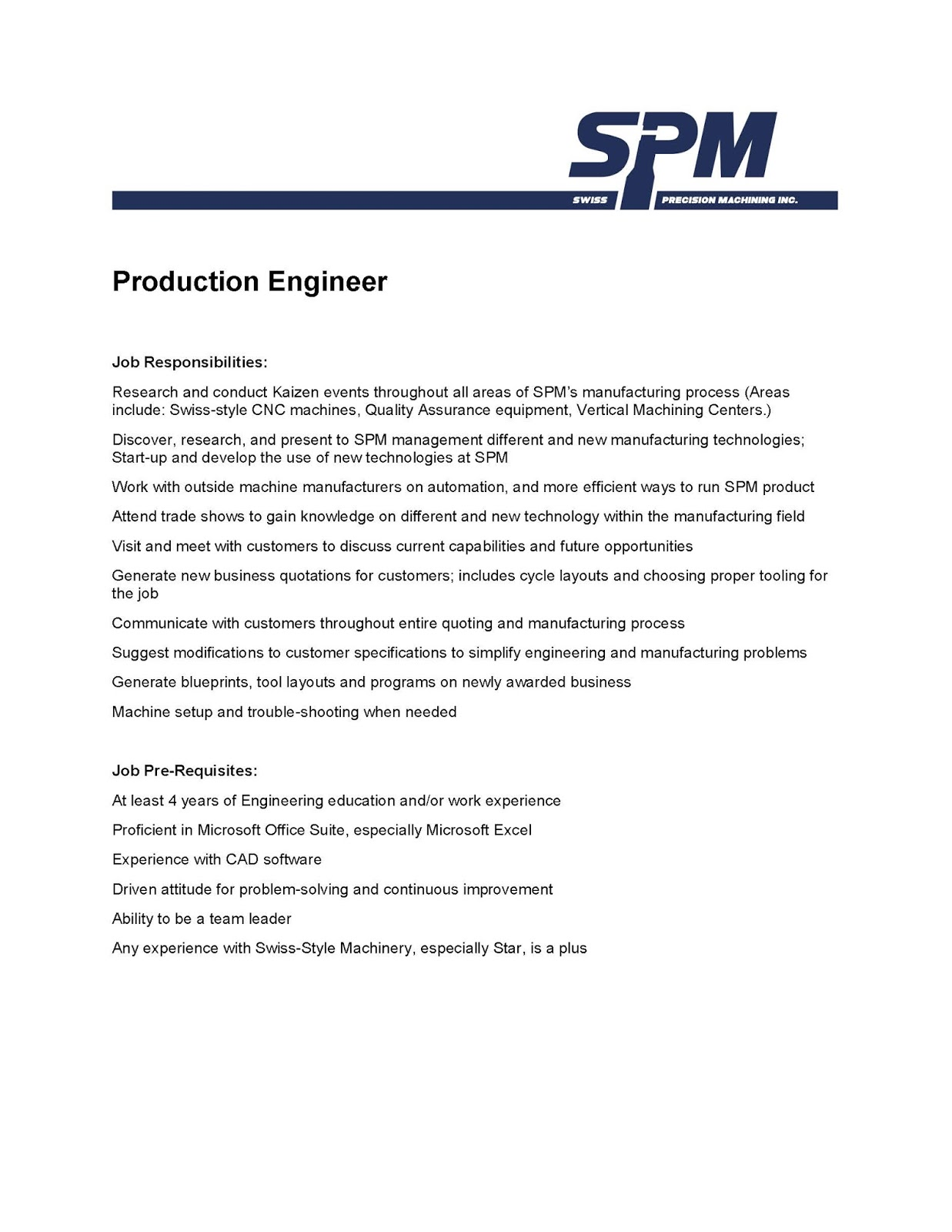 job opportunity production engineer