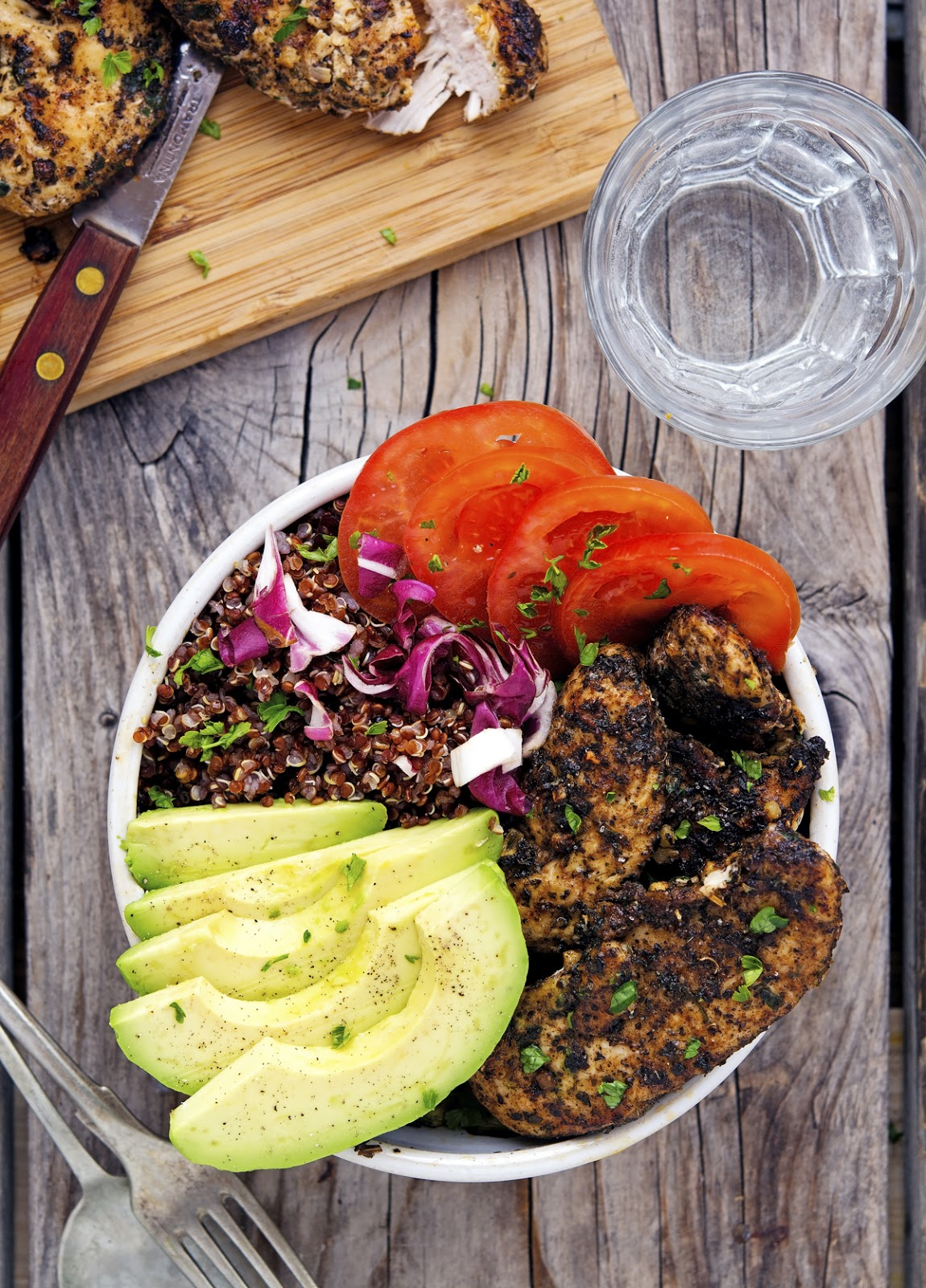 California Chicken Avocado and Red Quinoa Bowls
