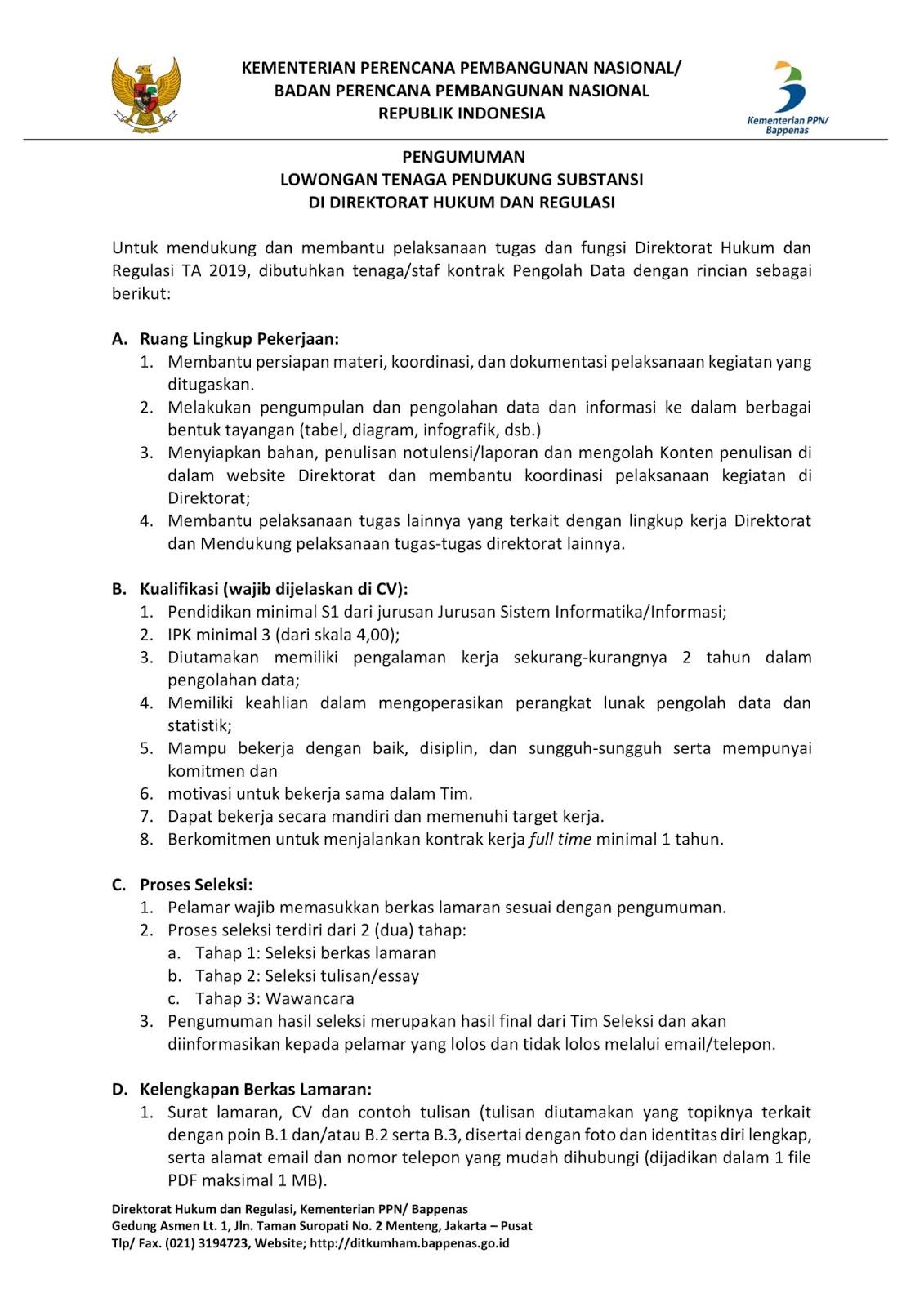 Lowongan Kerja Kementerian PPN Republik Indonesia Maret 2019