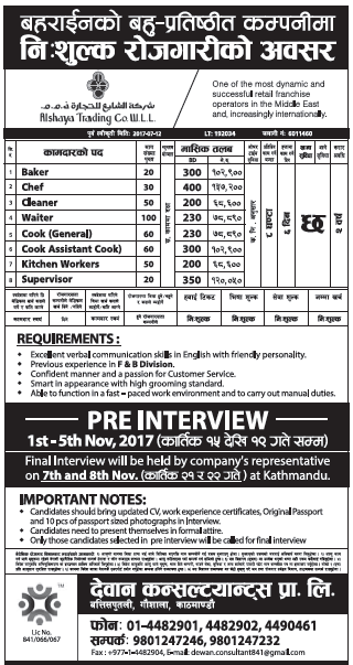 Jobs in Bahrain for Nepali, Salary Rs 1,37,200