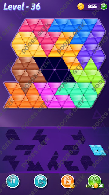 Block! Triangle Puzzle Challenger Level 36 Solution, Cheats, Walkthrough for Android, iPhone, iPad and iPod