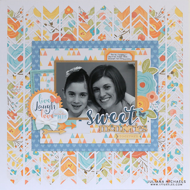Sweet Memories Scrapbook Page by Juliana Michaels featuring Cocoa Vanilla and Chevron Background Free Digital Cut File