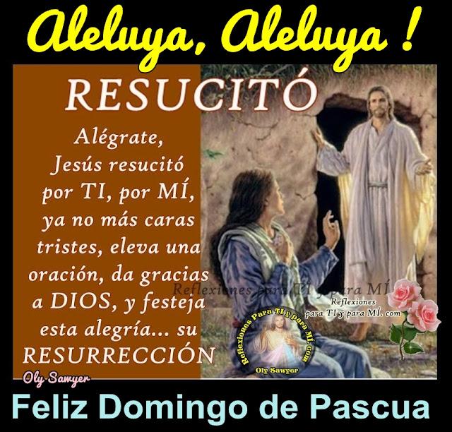 Aleluya, Aleluya ! RESUCITÓ !  Alégrate, Jesús resucitó por TI, por MÍ !  Ya no más caras tristes, eleva una oración, da gracias a DIOS, y festeja esta alegría... su RESURRECCIÓN !  Feliz Domingo de Pascua