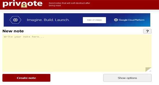 ارسال رسائل ذاتية التدمير مع موقع Privnote